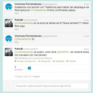 Fibra óptica, Twitter de Vecinos por Torrelodones