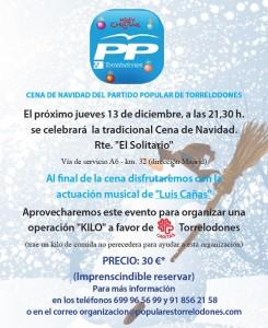 Cena de Navidad y Operación Kilo a favor de Cáritas del PP de Torrelodones