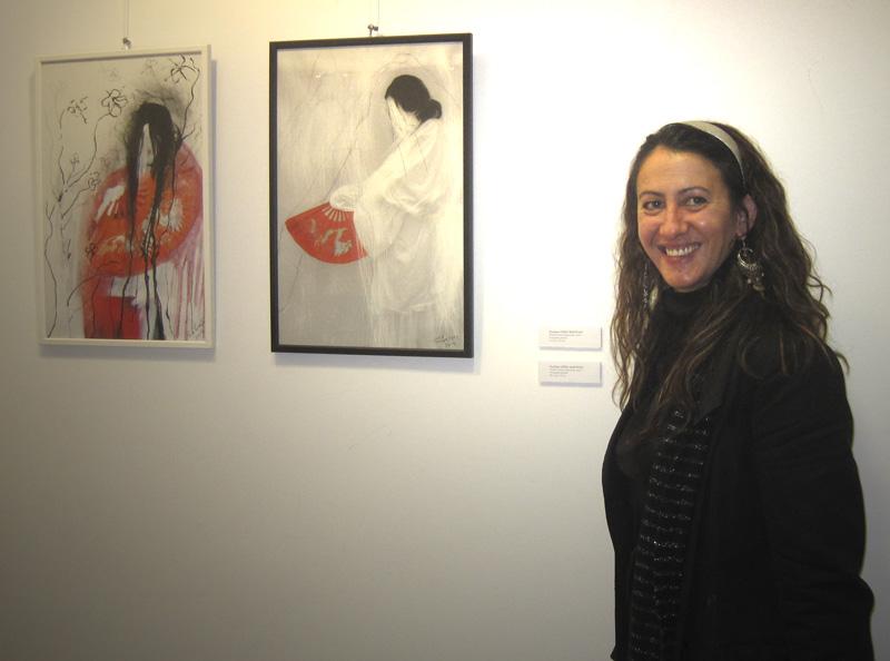 Penelope López en la inauguración de su exposición