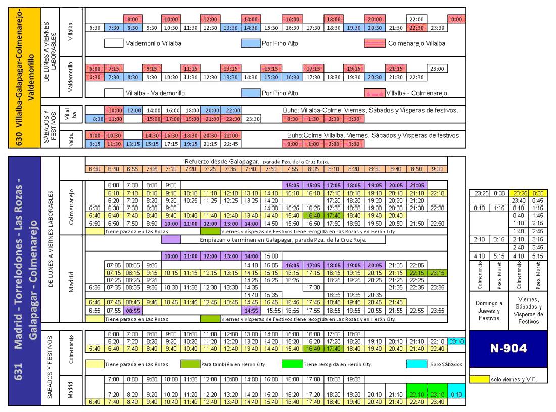 Nuevos horarios de las líneas 630 y 631 de Julián de Castro