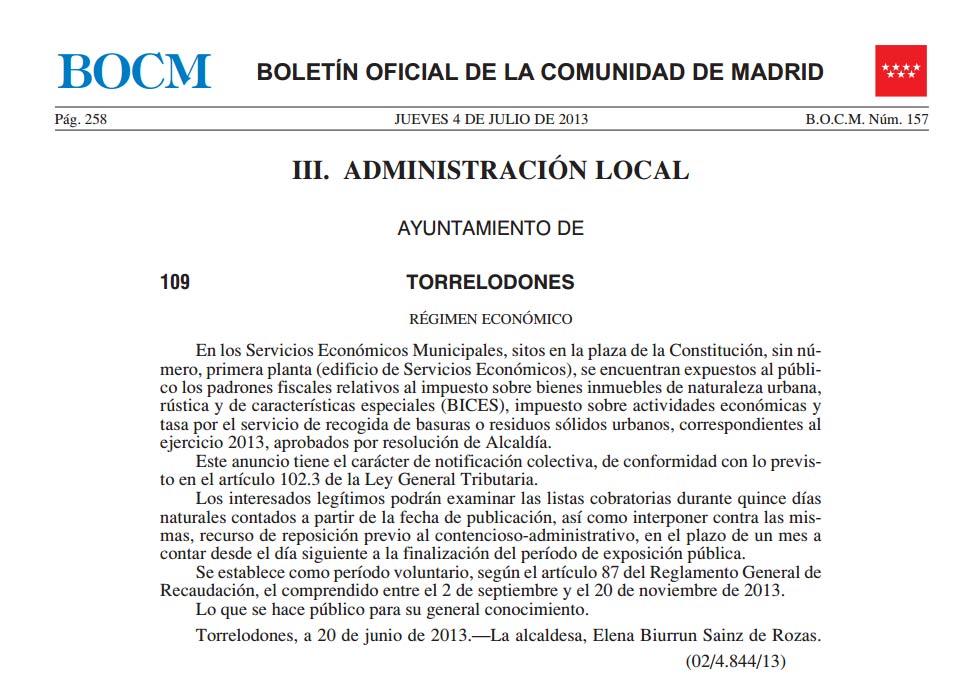 BOCM 4-7-2013 s/Exposición Pública de Padrones Fiscales de Torrelodones