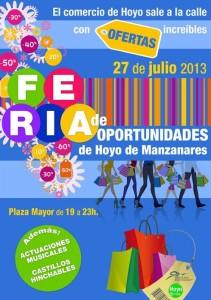 El 27 de julio 2013, será la Feria de Oportunidades de Hoyo de Manzanares