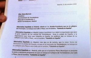 """Alternativa Española solicita que una calle de Torrelodones se denomine """"Cataluña es España"""" (Foto: www.aesdistribucion.org)"""