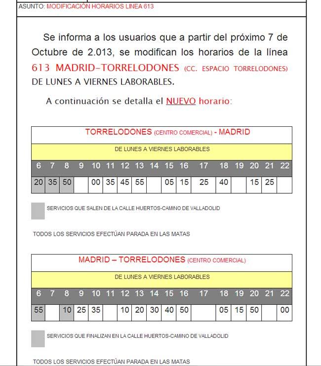 Nuevos horarios Linea 613 de Autobuses Larrea desde el 7-10-2013