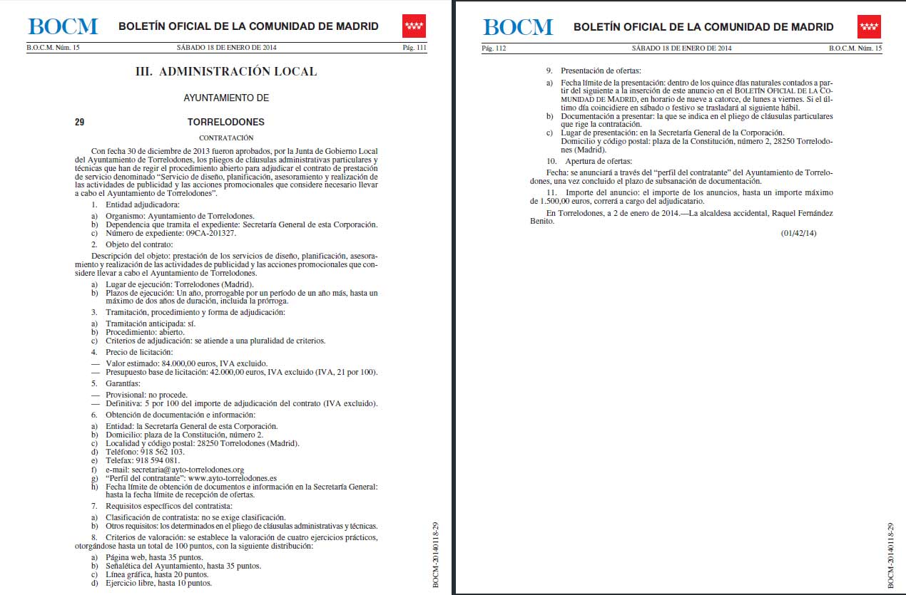 Anuncio concurso agencia en el BOCM