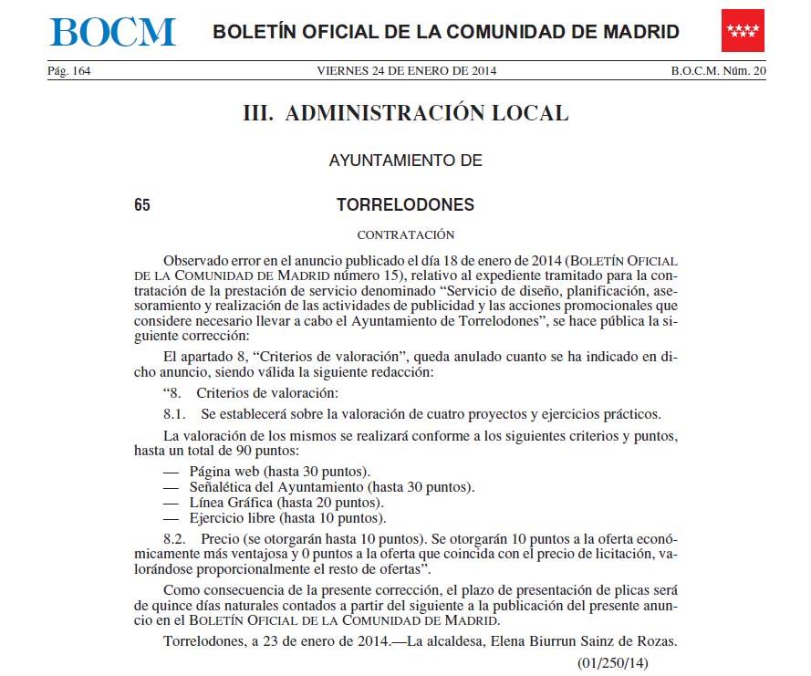 Corrección convocatoria para contratar una agencia de publicidad por el Ayuntamiento de Torrelodones