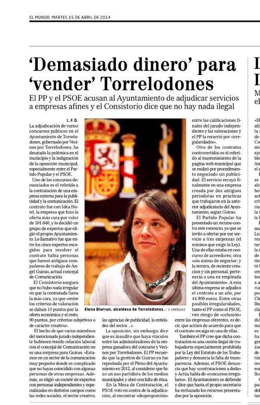 'Demasiado dinero' para 'vender' Torrelodones es el título de la nota de El Mundo sobre contrataciones del Ayuntamiento