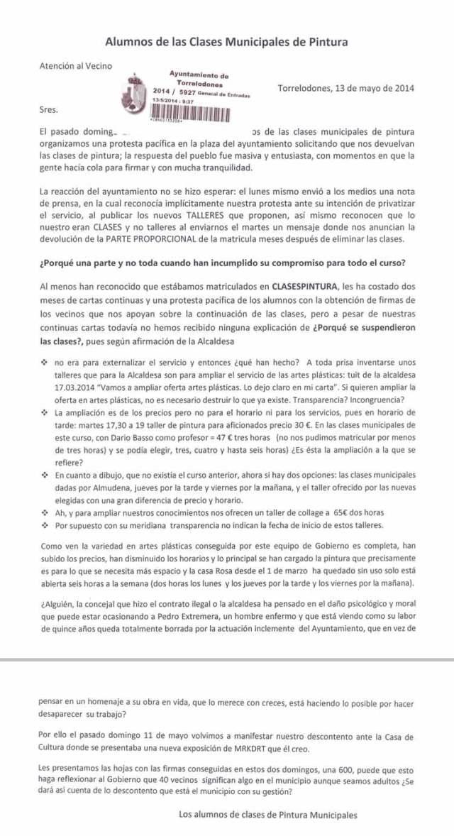 Carta de los alumnos de las clases municipales de pintura suspendidas en Torrelodones