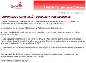 Comunicado de la Agrupación Socialista de Torrelodones