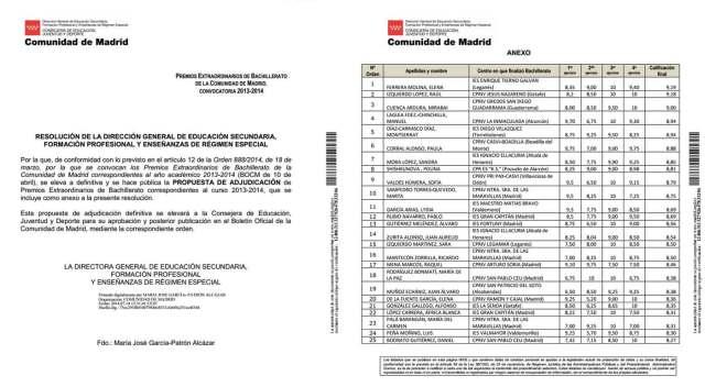 Premio Extraordinario de Bachillerato para una estudiante del IES Diego Velázquez de Torrelodones