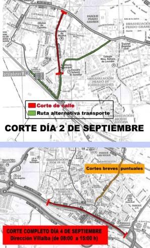 Cortes al tráfico Torrelodones 2 y 4 septiembre 2014 (Fuente planos: Ayto. Torrelodones)