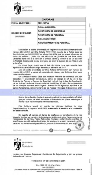 Informe del Jefe Policía Local, publicado con datos personales en la web municipal