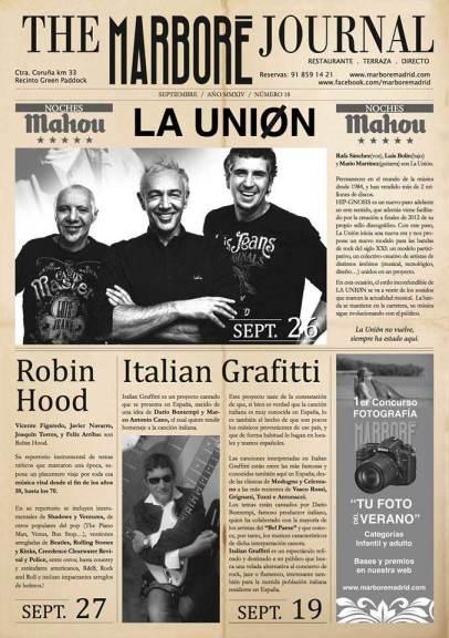 La Unión llega al Restaurante Marboré de Torrelodones, como se ve en el Marboré Journal de septiembre 2014