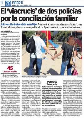 Edición en papel de 20 Minutos: «El viacrucis de dos policías por la conciliación familiar»