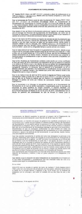 Última Solicitud de Natalia, publicada con datos personales en la web municipal