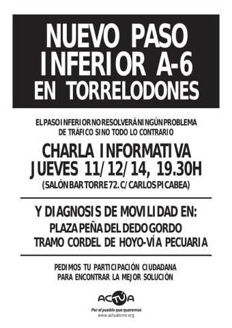 """AcTÚa convoca a una """"charla informativa"""" sobre paso inferior de la A-6, el jueves 11 a las 19:30 h, en el Bar Torre 72"""