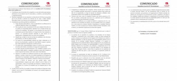 Comunicado de IU Torrelodones del 9-2-2015