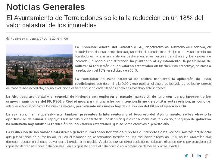 Nota del Ayuntamiento de Torrelodones sobre la que el Grupo Municipal de Ciudadanos realiza las aclaraciones