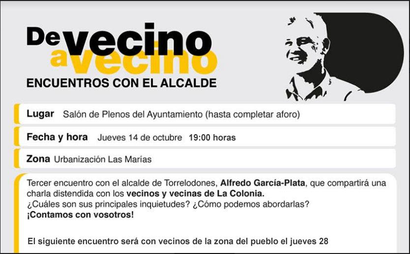 Cartel convocatoria encuentro del alcalde con vecinos de Las Marías