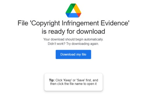 scam copyright infringement package