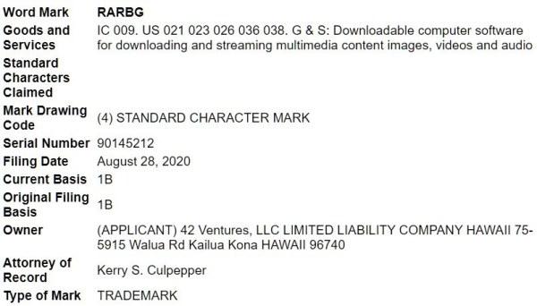 rarbg trademark