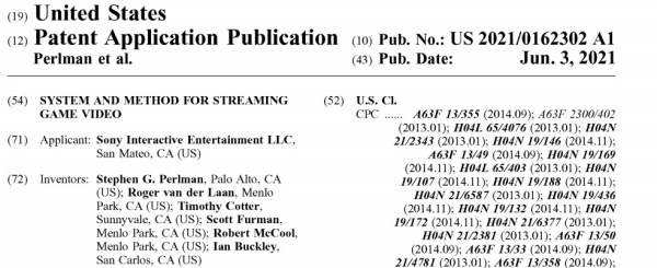 sony cloud gaming patent