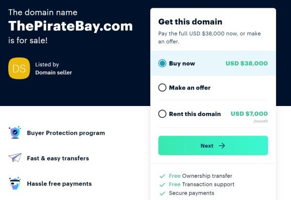 thepiratebay.com for sale