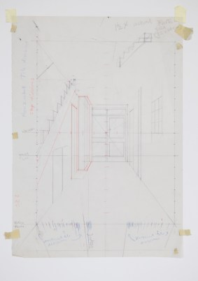 Paul Winstanley (contributor of Torrent No. 1), Perspective Study for Lobby 8a, 1991, Pencil on Paper, 41.5X29.5cm. Photo: Paul Winstanley