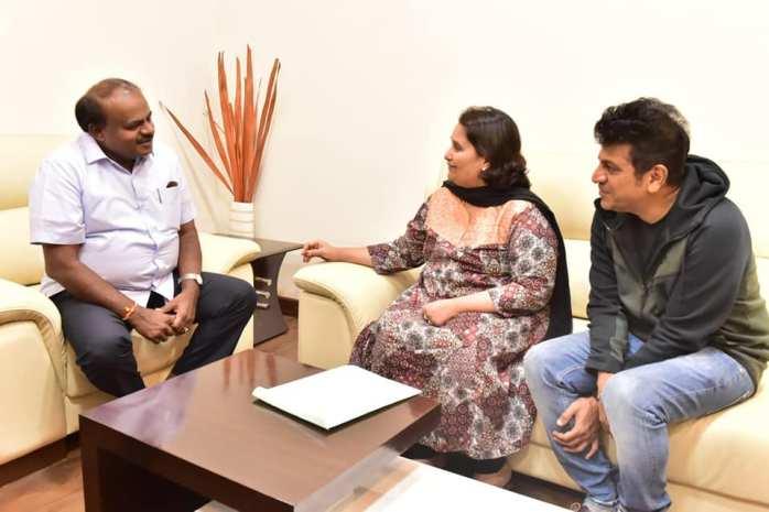 Shivarrajkumar and geetha with kumaraswamy