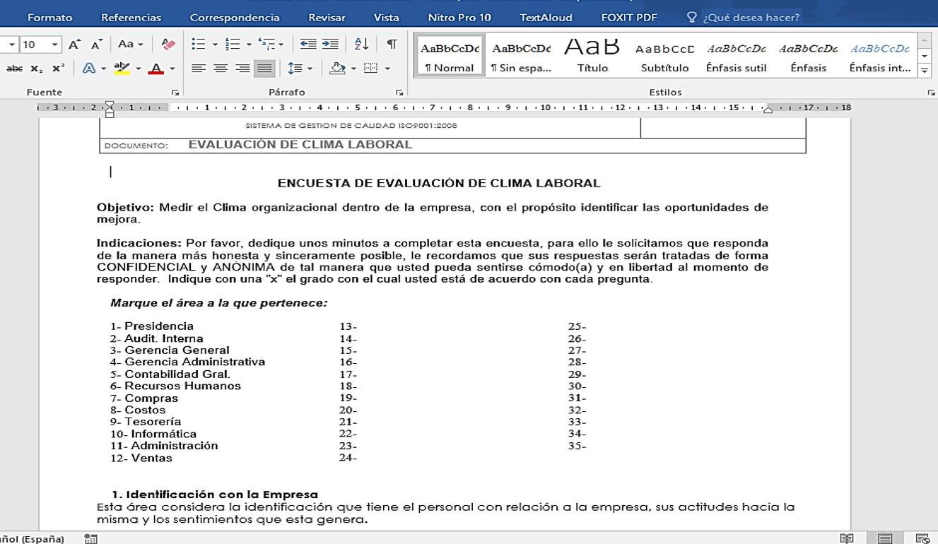 Plantilla-Evaluación del Clima Laboral – Excel Administra tu Negocio