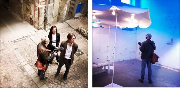 Tomas Fitzel mit Ulrike Seyboth und Ingo Fröhlich I Tomas Fitzel vor einer Soundinstallation von Frenzy Höhne