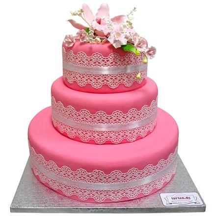 Torte mit Orchidee 3stckig