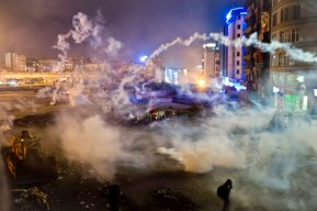 Taksim Square is flooded by tear gas as clashes between protesters and riot police continue into the night in Istanbul Tuesday, June 11, 2013. AP Vadim Ghirda