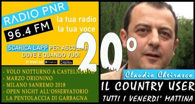 Copertina della ventesima puntata del Il Country User su Radio Pnr Tortona