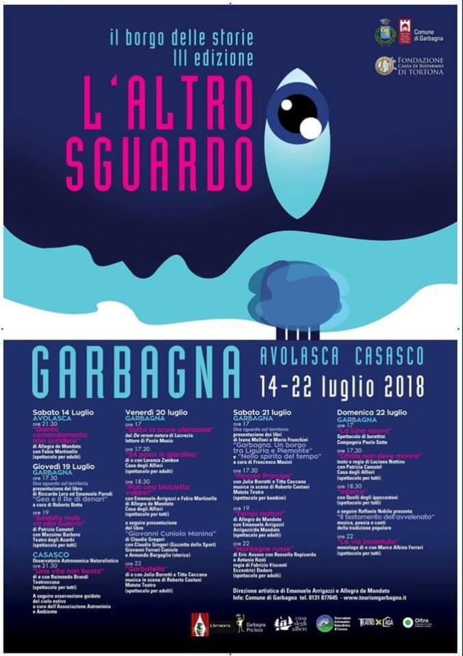 Programma del Festival teatrale di Garbagna dal 18 al 22 luglio 2018