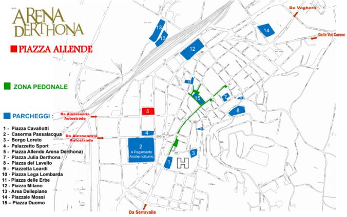 Arena Derthona 2018 la mappa dei parcheggi