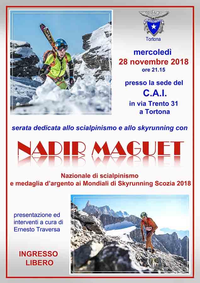 La locandina della serata Cai dedicata allo scialpinismo e allo skyrunning