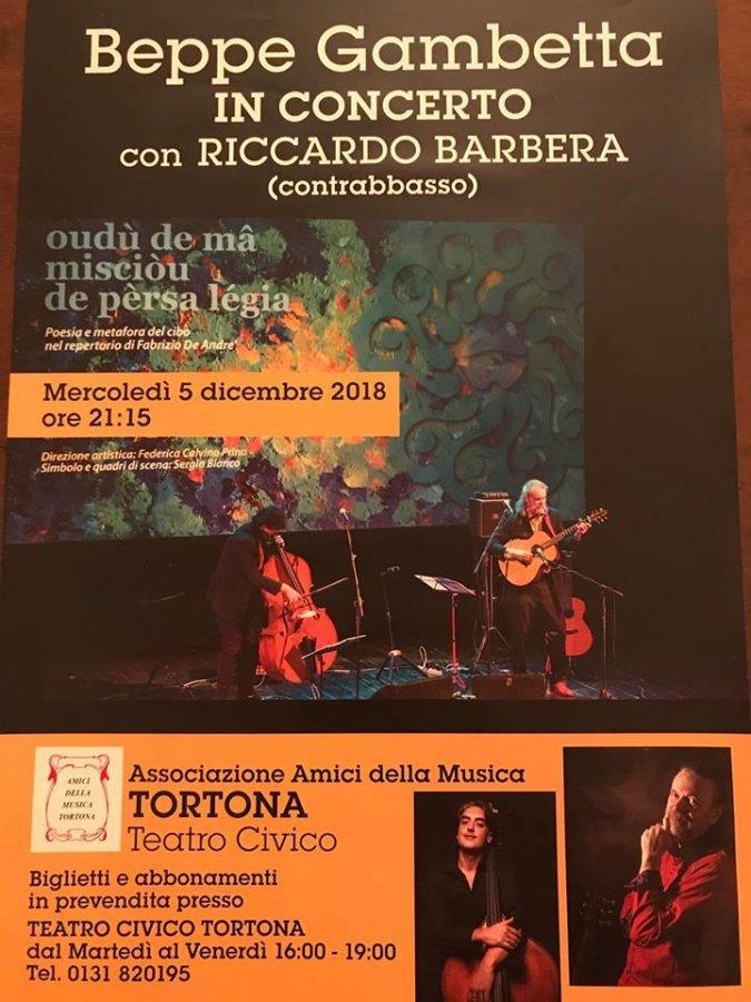 Locandina del concerto di Beppe Gambetta in concerto al Teatro Civico di Tortona 5 dicembre 2018