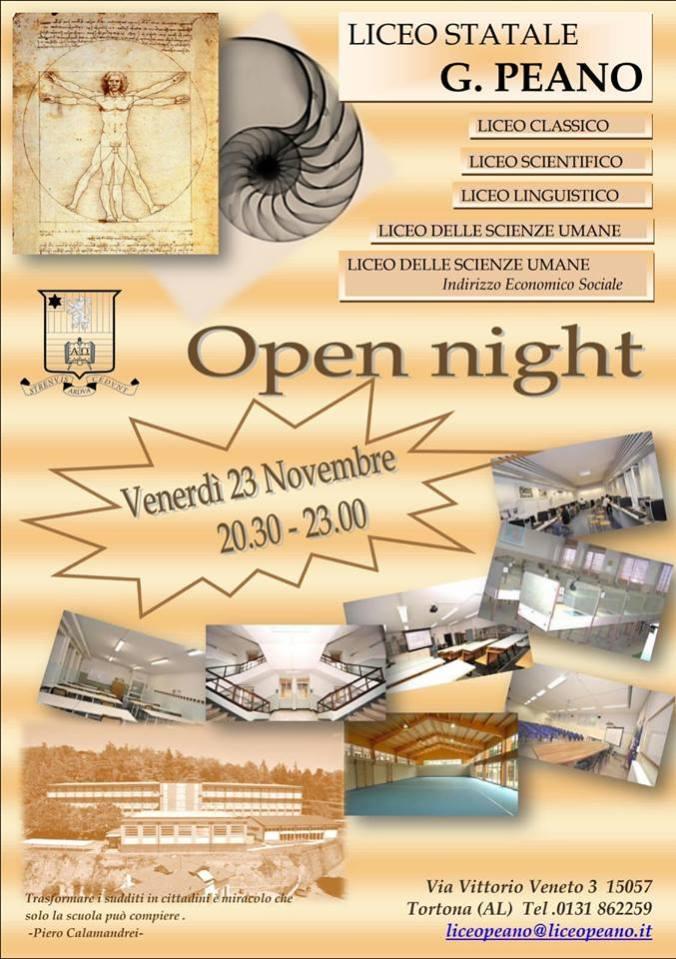 Locandina Open Night 2018 Liceo Peano Tortona