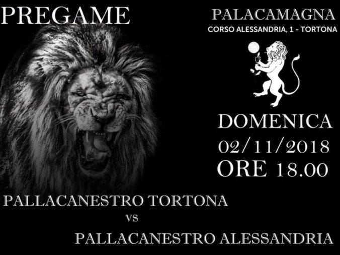 Locandina della partita di Basket Tortona Alessandria