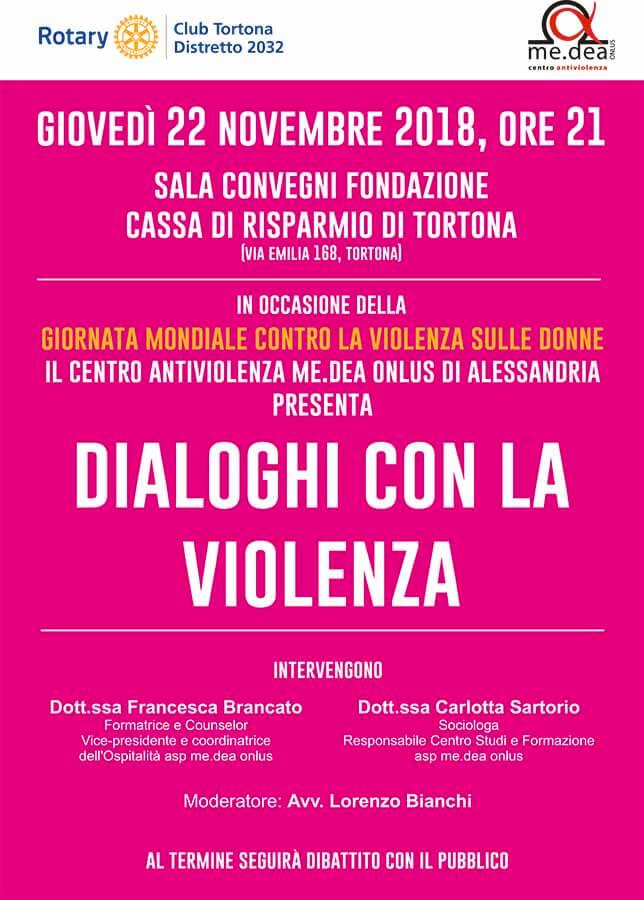 Locandina del convegno contro la violenza sulle donne del Rotary Tortona