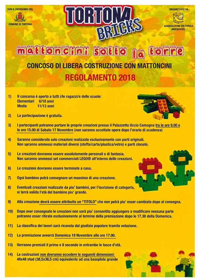 Il regolamento per poter giocare con i mattoncini lego a Tortona