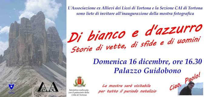 L'invito alla mostra di bianco e d'azzurro a Palazzo Guidobono di Tortona