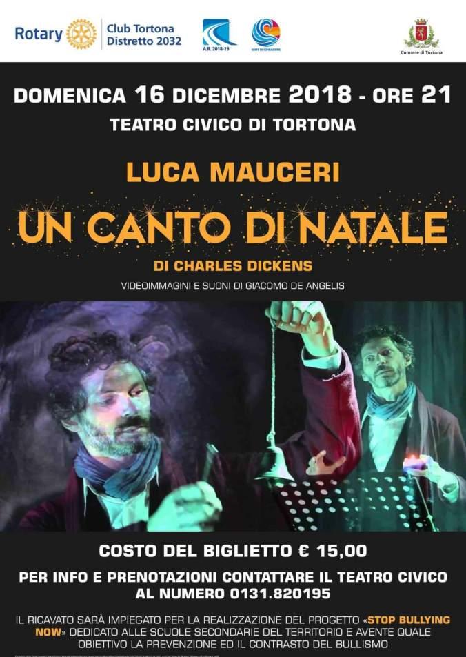 """locandina spettacolo""""Un Canto di Natale"""" di C. Dickens con l'attore Luca Mauceri."""