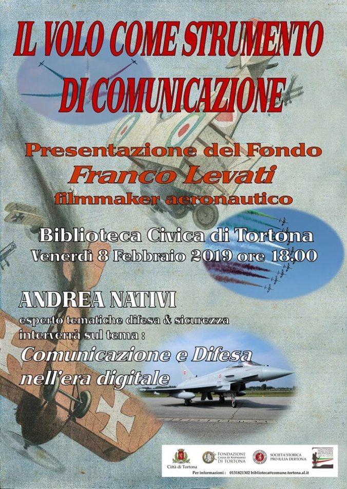 Locandina evento collaterale alla mostra su Ernesto Cabruna in Biblioteca a Tortona