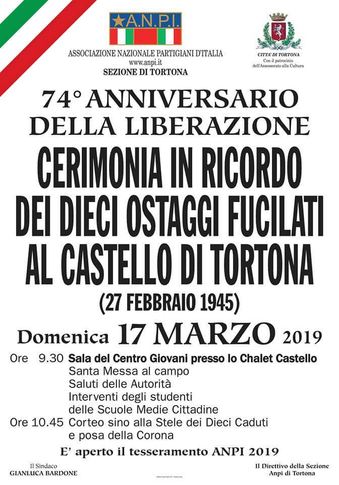 Manifesto della commemorazione delle vittime del Castello di Tortona