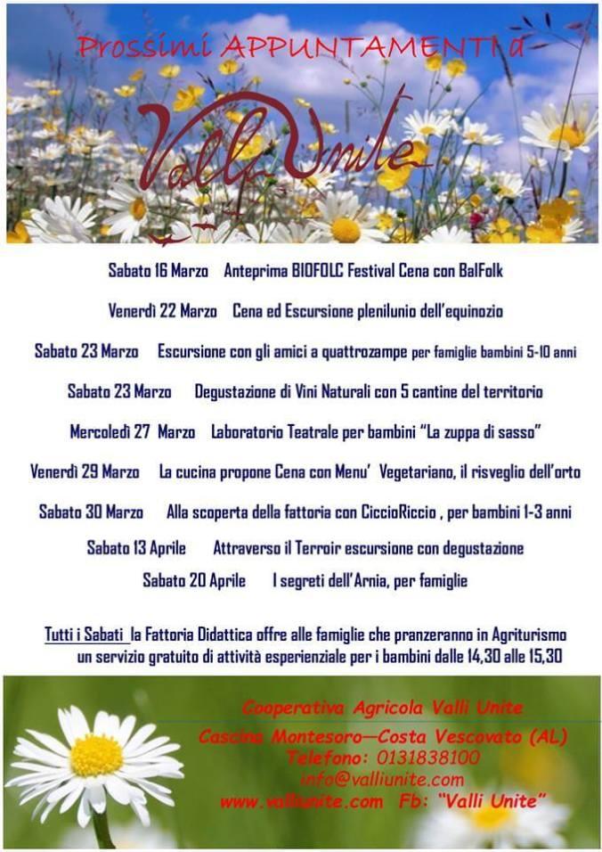 Tutti gli eventi a Valli Unite marzo-aprile 2019