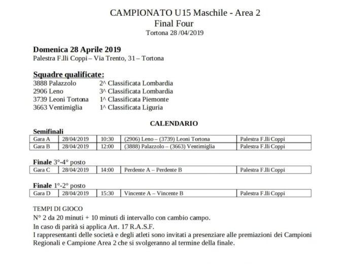 Programma Final Four di Area 2 alla Palestra Coppi di Tortona