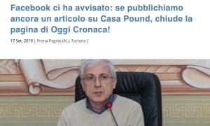 Il quotidiano on-line Oggi Cronaca di Tortona preso nel mirino da facebook per contenuti razzisti