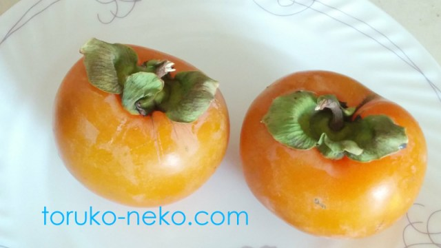 トルコ イスタンブールで美味しそうなオレンジ色の柿が2個白いお皿の上にのっている写真 画像